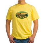 St Francis / dogs-cats Yellow T-Shirt