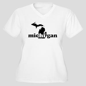 Hi From MI Women's Plus Size V-Neck T-Shirt
