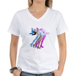 Skater in the Wind Women's V-Neck T-Shirt