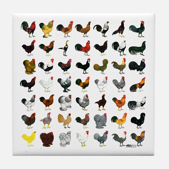 49 Roosters Tile Coaster