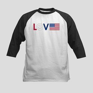 Love Peace America Kids Baseball Jersey
