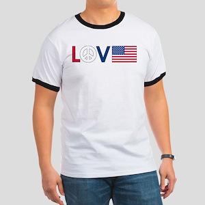 Love Peace America Ringer T