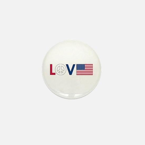 Love Peace America Mini Button
