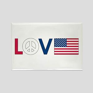 Love Peace America Rectangle Magnet