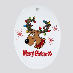 Merry Christmas Reindeer Ornament (Oval)