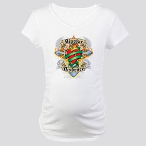Bipolar Disorder Cross & Hear Maternity T-Shirt