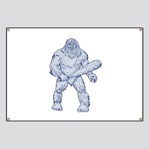 Bigfoot Holding Club Standing Drawing Banner