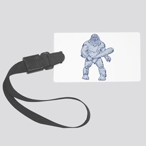 Bigfoot Holding Club Standing Drawing Luggage Tag