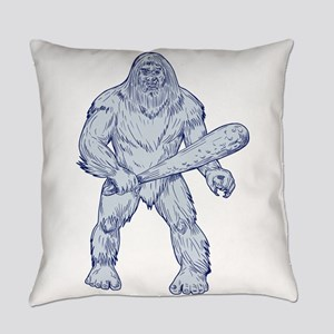 Bigfoot Holding Club Standing Drawing Everyday Pil