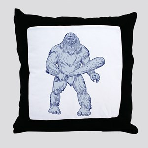 Bigfoot Holding Club Standing Drawing Throw Pillow