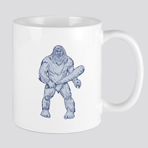 Bigfoot Holding Club Standing Drawing Mugs