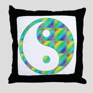 Rainbow Yin-Yang Throw Pillow