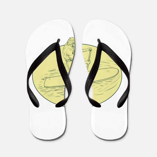 Surfer Dude Stand Up Paddle Oval Drawing Flip Flop