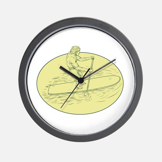 Surfer Dude Stand Up Paddle Oval Drawing Wall Cloc