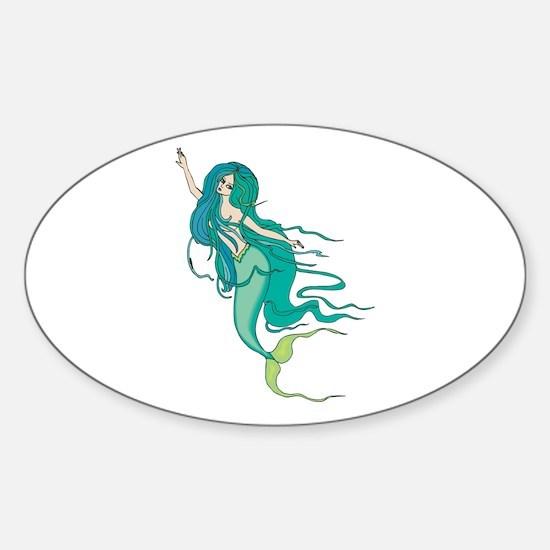 Green Mermaid Oval Decal