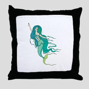 Green Mermaid Throw Pillow