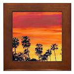 Red Sunset California Framed Tile