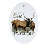 Elk Hunter Ornament (Oval)