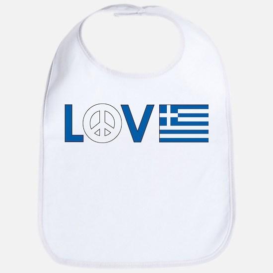 Love Peace Greece Bib