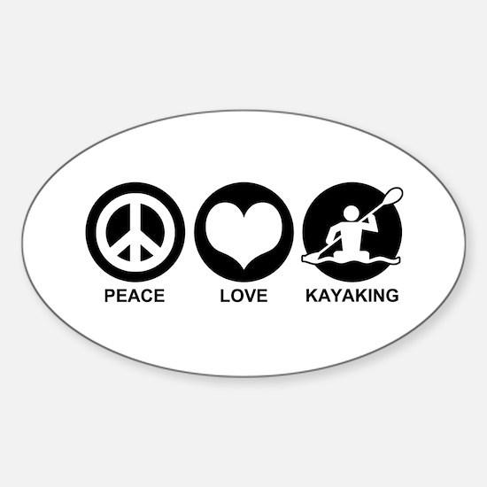 Peace Love Kayaking Sticker (Oval)