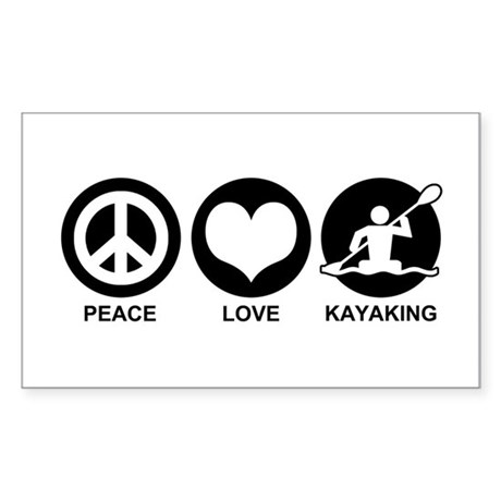 Peace Love Kayaking Sticker (Rectangle)