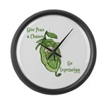 Give Peas a Chance Large Wall Clock