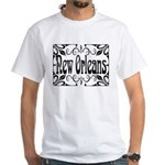 New Orleans Wrought Iron Design White T-Shirt