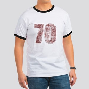 70th Birthday Red Grunge Ringer T