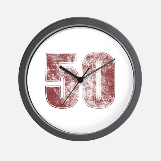 50th Birthday Red Grunge Wall Clock