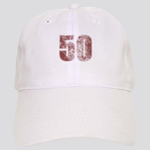 50th Birthday Red Grunge Cap