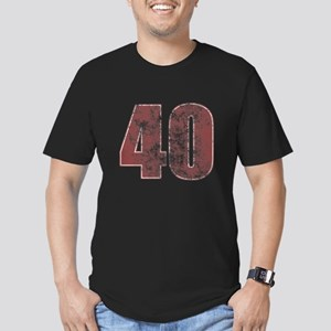 40th Birthday Red Grunge Men's Fitted T-Shirt (dar