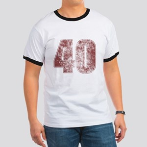 40th Birthday Red Grunge Ringer T