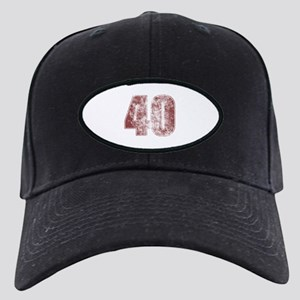 Hats 40th Birthday Red Grunge Black Cap