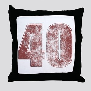 40th Birthday Red Grunge Throw Pillow