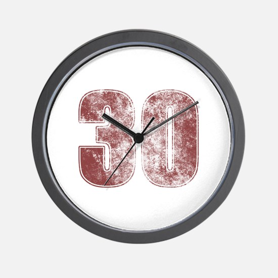 30th Birthday Red Grunge Wall Clock