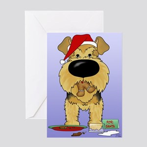 Airedale Santa's Cookies Greeting Card