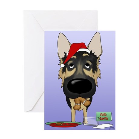 German Shepherd Santa Greeting Card