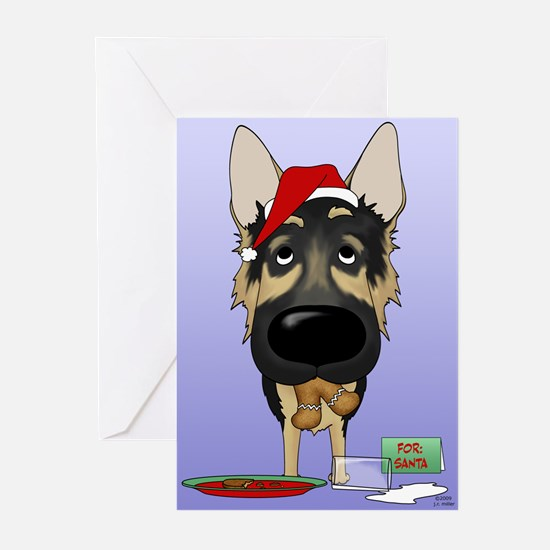 German Shepherd Santa Greeting Cards (Pk of 10)