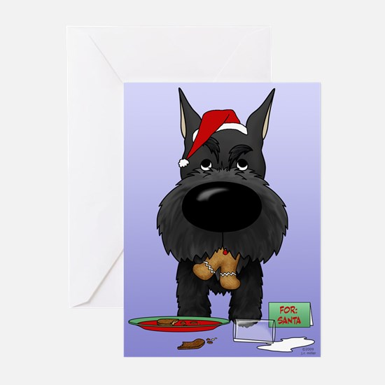 Schnauzer Santa's Cookies Greeting Cards (Pk of 20