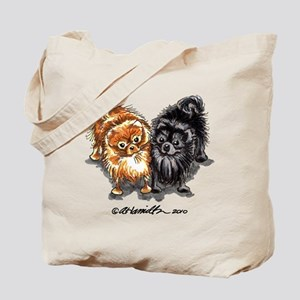 Black Red Pomeranian Tote Bag