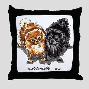 Black Red Pomeranian Throw Pillow
