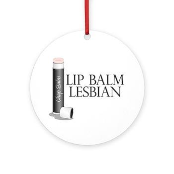 Lip Balm Lesbian Round Ornament