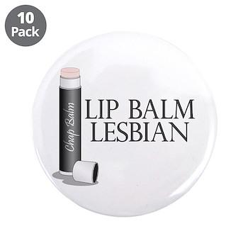 """Lip Balm Lesbian 3.5"""" Button (10 pack)"""