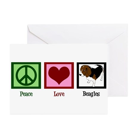 Peace Love Beagles Greeting Cards (Pk of 10)