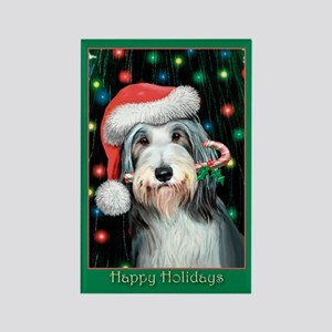 Bearded Collie Happy Holidays Rectangle Magnet