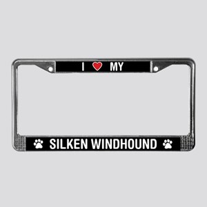 I Love My Silken Windhound License Plate Frame