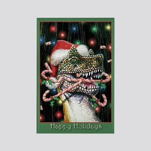 Happy Holiday Dinosaur Rectangle Magnet