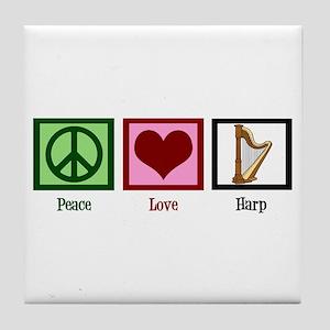 Peace Love Harp Tile Coaster