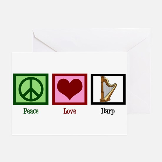 Peace Love Harp Greeting Cards (Pk of 10)