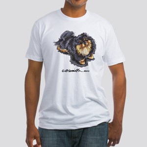 Black Tan Pomeranian Fitted T-Shirt